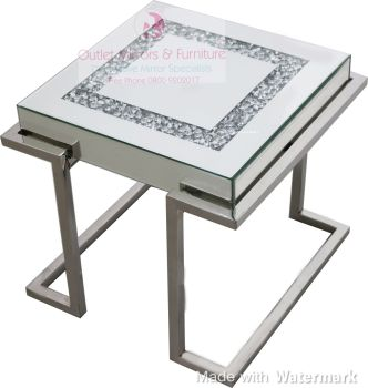 * New Diamond Crush Crystal Sparkle Lamp Table with Silver Chrome base frame