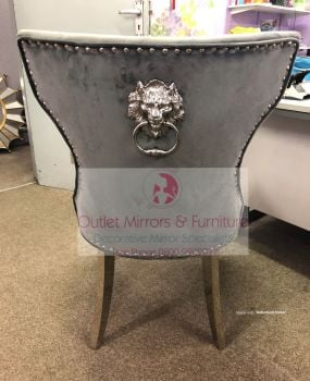 Lion Knocker Back Dining Chair in Grey with Chrome Leg