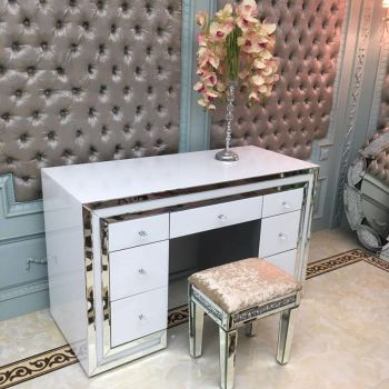 *Atlanta White & Mirrored 7 Draw Dressing Table - was £799 now only £425 incredible price IN STOCK