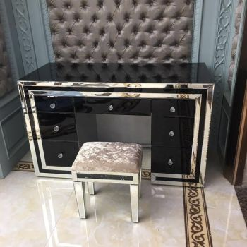 *Atlanta Black  & Mirrored 7 Draw Dressing Table with matching Stool - was £899 now. Only £529.99