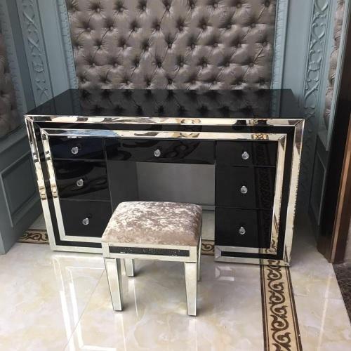 *Atlanta Black  & Mirrored 7 Draw Dressing Table