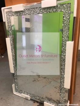 *Special Offer Diamond Crush Sparkle Mirror wide border 120cm x 80cm Item in stock
