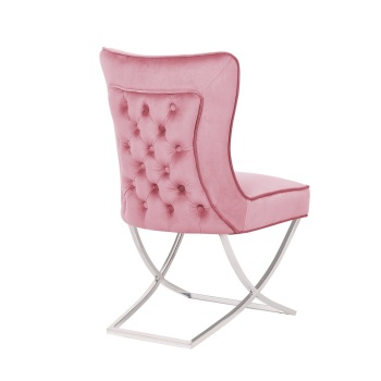 Button Back  Dining Chair in Blush Pink with Chrome twist  Leg