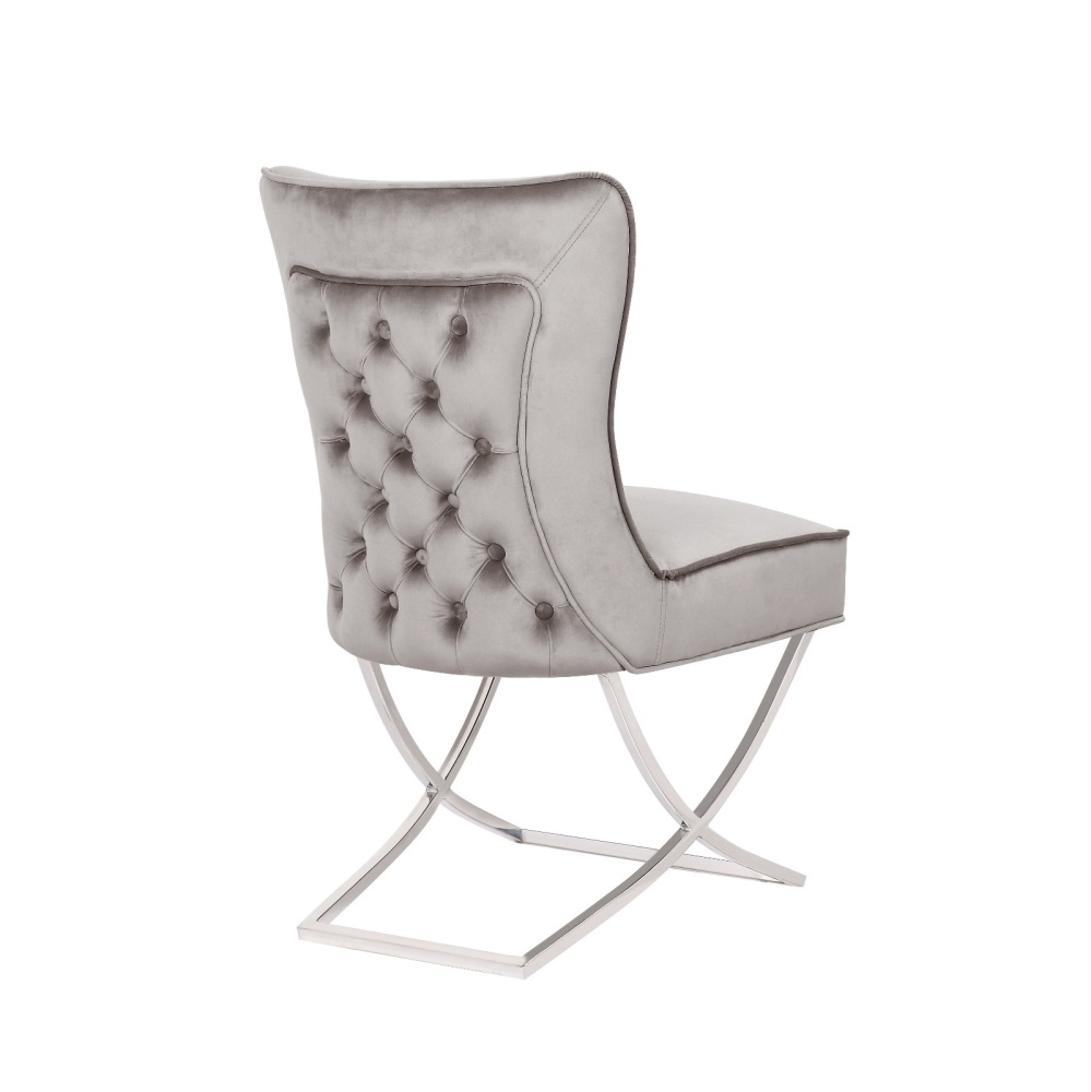 Button Back  Dining Chair in Grey with Chrome twist  Leg