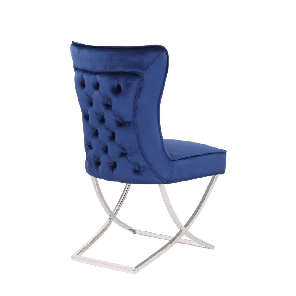 Button Back  Dining Chair in Royal Blue with Chrome twist  Leg