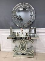 "*Diamond Crush crystal Sparkle Large ""CC"" Console Table sold out - stock due early october"