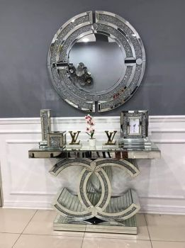 "*Diamond Crush crystal Sparkle Large ""CC"" Console Table sold out"