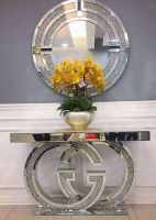 "* Diamond Crush crystal Sparkle Large ""GG"" Console Table  pre order for end of January delivery"