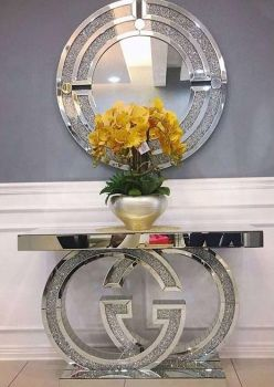 "*Diamond Crush crystal Sparkle Large ""GG"" Console Table  stock due in FEB 2020"