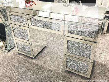 * Diamond Crush Mirrored 7 Draw Dressing Table