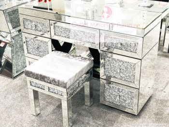 * Diamond Crush Mirrored 7 Draw Dressing Table with Stool