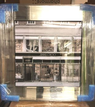 Boutique Jimmy Choo Glamour Art in a Mirrored Frame 55cm x 55cm in stock
