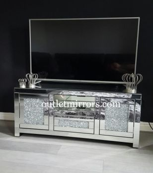 * Diamond Crush Sparkle Mirrored TV Entertainment Unit 150cm item in stock