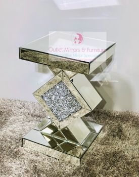 * Diamond Crush Sparkle Crystal Mirrored Diamond Centre Lamp Table small
