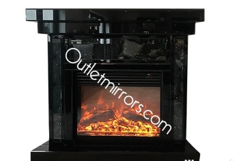 * Diamond Crush Sparkle Mirrored Black fire surround with electric fire