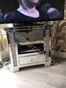 Diamond Crush Crystal Sparkle Mirrored Corner TV Entertainment Unit High In stock