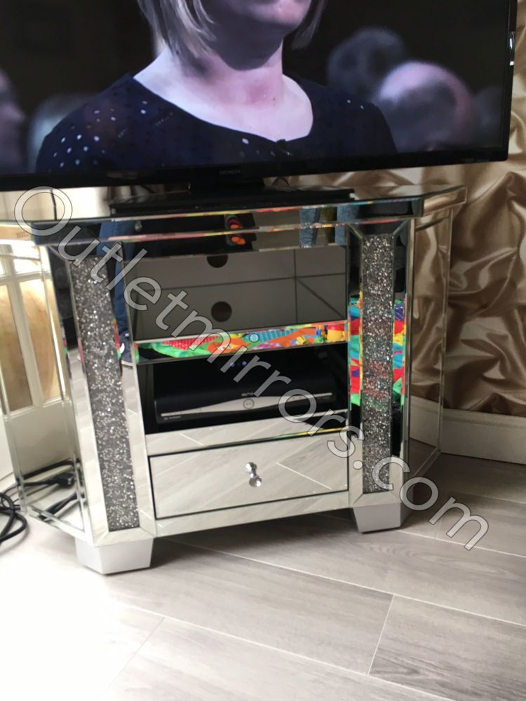 Diamond Crush Crystal Sparkle Mirrored Corner TV Entertainment Unit High In