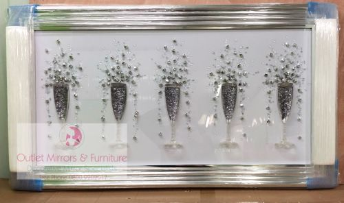 3D Champagne flutes Silver wall art on a white background silver chrome ste