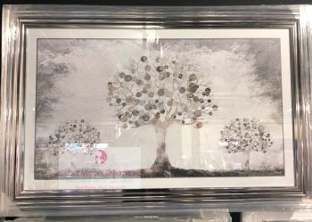 """framed art print """"Glitter Sparkle Money Trees"""" with real coins in a silver stepped frame"""