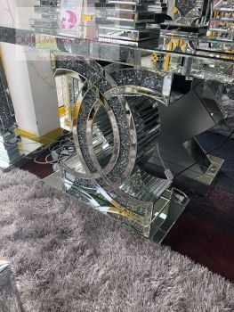 "*Diamond Crush crystal Sparkle ""CC"" Console Table large 120cm  item in stock"