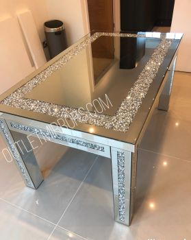 * Diamond Crush Sparkle Mirrored Dining Table 150cm x 90cm  to seat 4 or 6  - in stock for pre xmas delivery