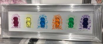 Jake Johnson 3D colourful Jelly Babies wall art on a white gloss background in a steel silver stepped frame 52cm x 92cm