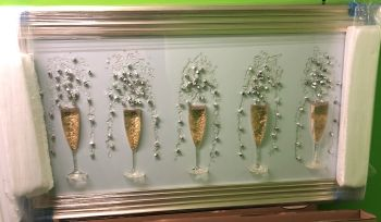 3D Champagne flutes Gold wall art on a white background silver chrome stepped frame  in stock