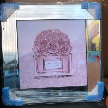 "Mirror framed Sparkle Glitter Art ""Miss Dior Absolute Blooming Bouquet"""