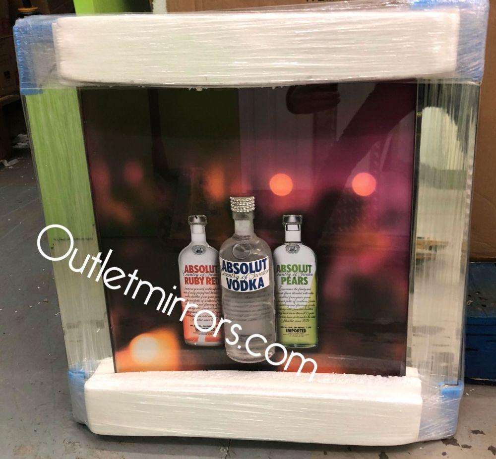** Absolute Vodka 3d Bottle Glitter Art Mirrored Frame ** 75cm x 55cm