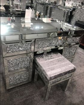 * Diamond Crush Mirrored 7 Draw Dressing Table in stock