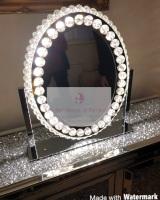 * New LED Crystal Oval Make Up Mirror 62cm x 13cm x 55cm
