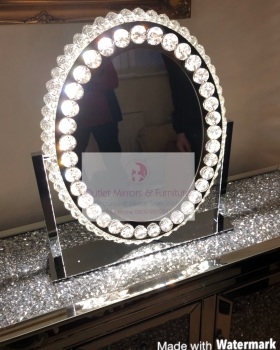 * New LED Crystal Oval Make Up Mirror 62cm x 13cm x 55cm