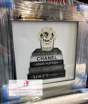 "Mirror framed Sparkle Glitter Art ""Chanel  No 5 "" In stock for a fast delivery"