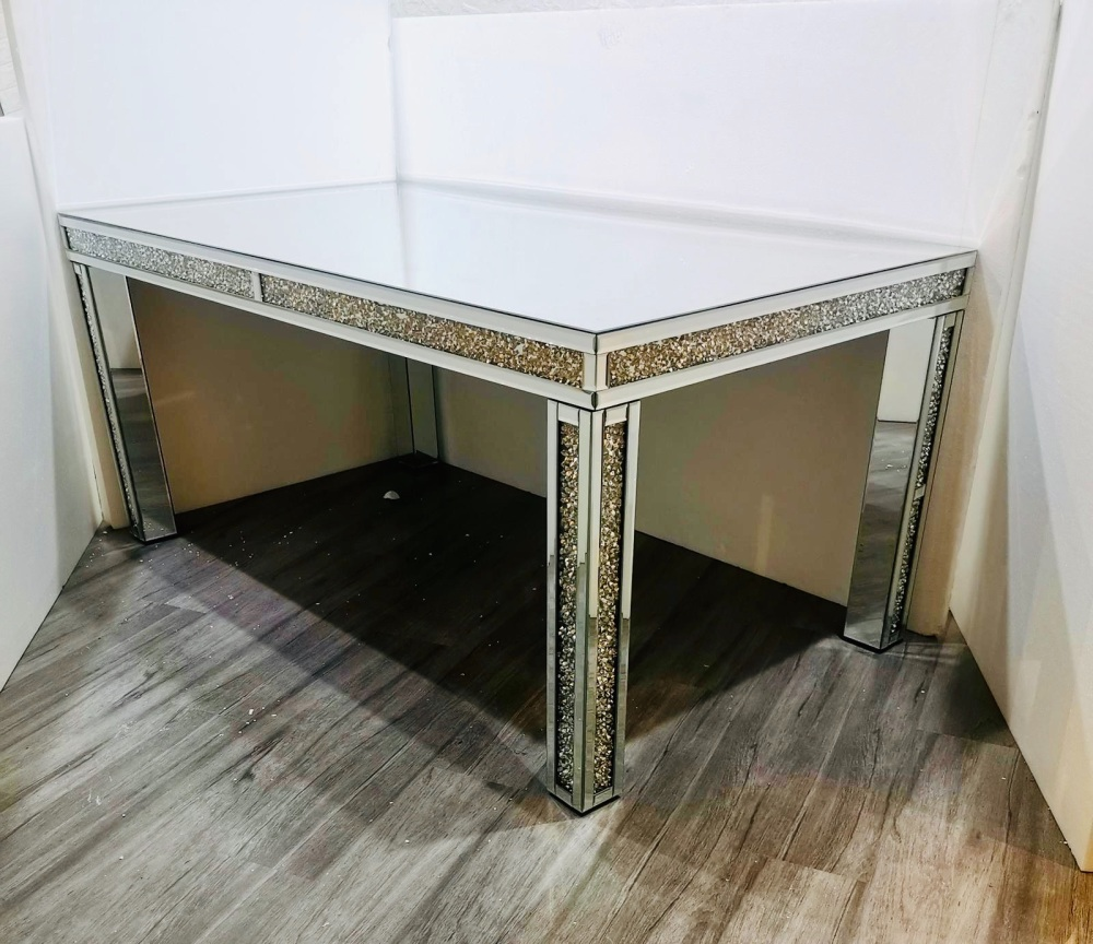 * Diamond Crush Sparkle Mirrored Dining Table 180cm x 100cm To seat 6 or 8
