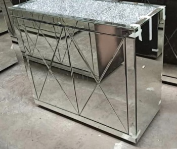 * New Diamond Crush Crystal Mirrored 2 Door Sideboard with crystal handles and diamond crush top