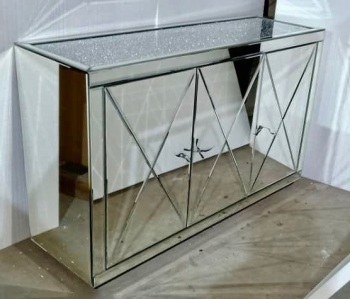 * New Diamond Crush Crystal Mirrored 3 Door Sideboard with crystal handles and diamond crush top