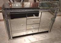 * Diamond Crush Sparkle Mirrored Sideboard 2 Door 4 draw - item Sold out until october back orders being accepted