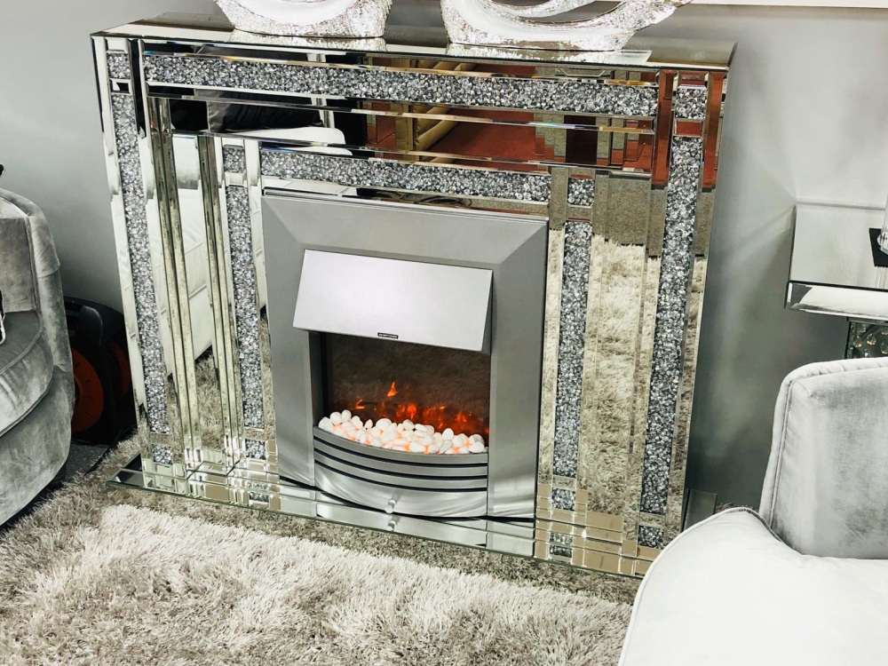 *New Diamond Crush Sparkle Double Band Mirrored fire surround with electric