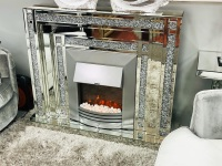 *New Diamond Crush Sparkle Double Band Mirrored fire surround with electric fire