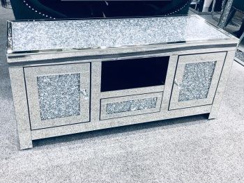 * Diamond Crush Top and Doors Sparkle Mirrored TV Entertainment Unit 120cm