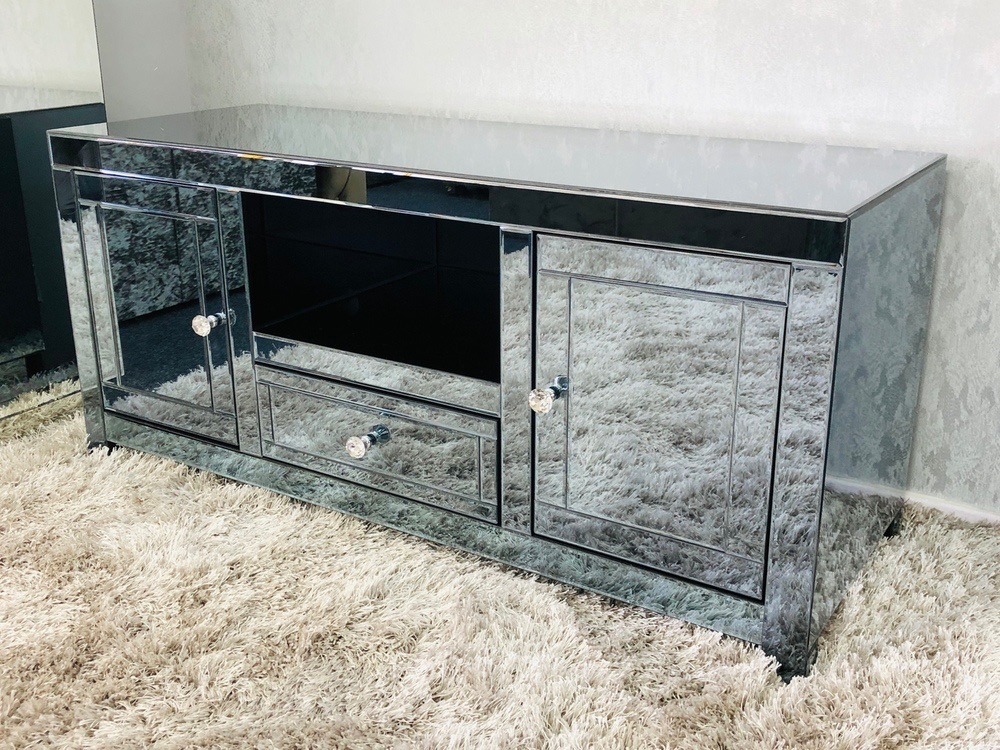 * Smoked Grey  Mirrored TV Entertainment Unit 120cm in stock for immediate