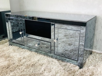 * Smoked Grey  Mirrored TV Entertainment Unit 120cm in stock for immediate delivery