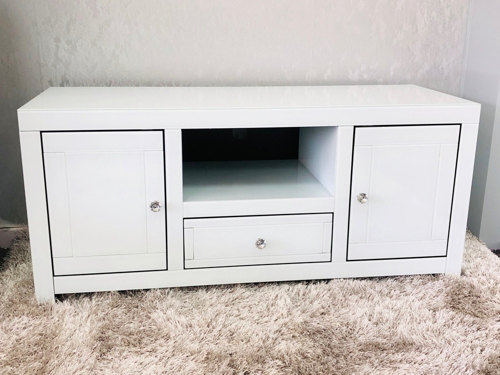 * White gloss Mirrored TV Entertainment Unit 120cm in stock for immediate d