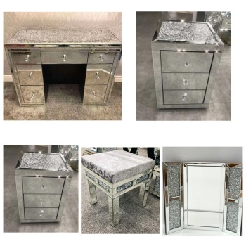 * Package Deal Monica Diamond Crush Mirrored 7 Draw Dressing Table with a Diamond crush Top, 2 chest of draws, 1 x stool and tri fold mirror