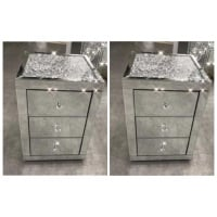 * Monica Diamond Crush Mirrored Pair of  3 Draw Bedside Chest with a Diamond crush Top - SOLD OUT  Until early september