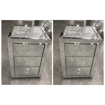 * Monica Diamond Crush Mirrored Pair of  3 Draw Bedside Chest with a Diamond crush Top