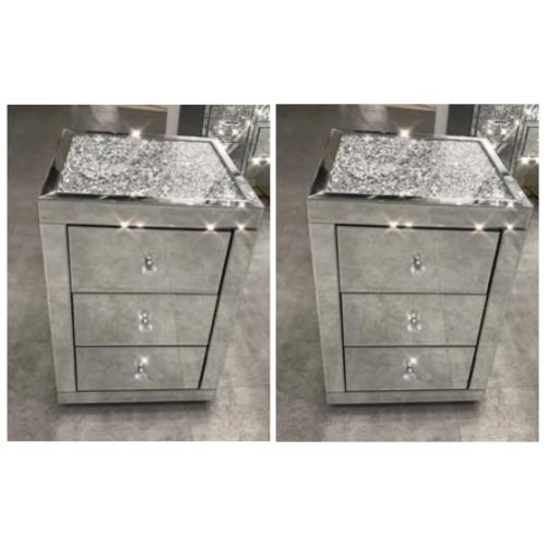 * Monica Diamond Crush Mirrored Pair of  3 Draw Bedside Chest with a Diamon
