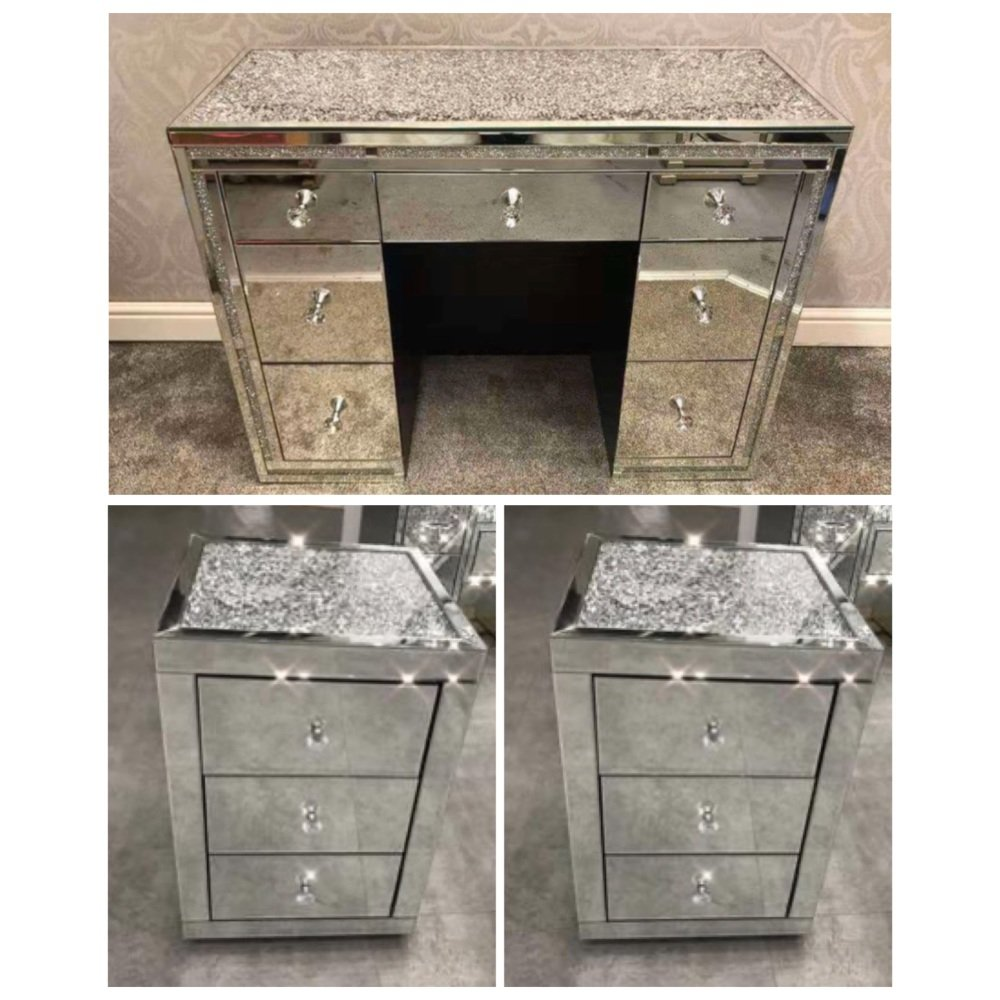 * package Deal Monica Diamond Crush Mirrored 7 Draw Dressing Table with a D