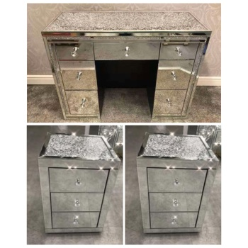 * package Deal Monica Diamond Crush Mirrored 7 Draw Dressing Table with a Diamond crush Top & 2 bedside chest of draws