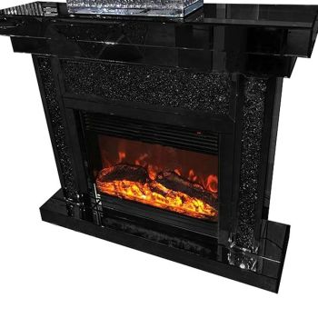 * Diamond Crush Sparkle Mirrored Black fire surround with electric fire in stock